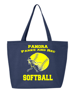 Panora Parks & Rec-Q-Tees - 24.5L Canvas Zippered Tote - Q611-Softball