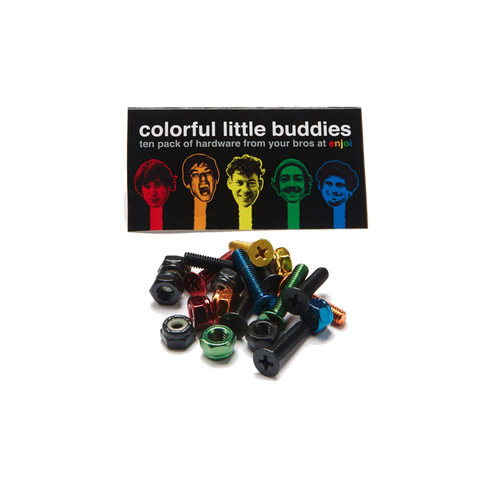 Enjoi Hardware 3 Black Nuts and Bolts, 5 Assorted Colorful Nuts and Bolts