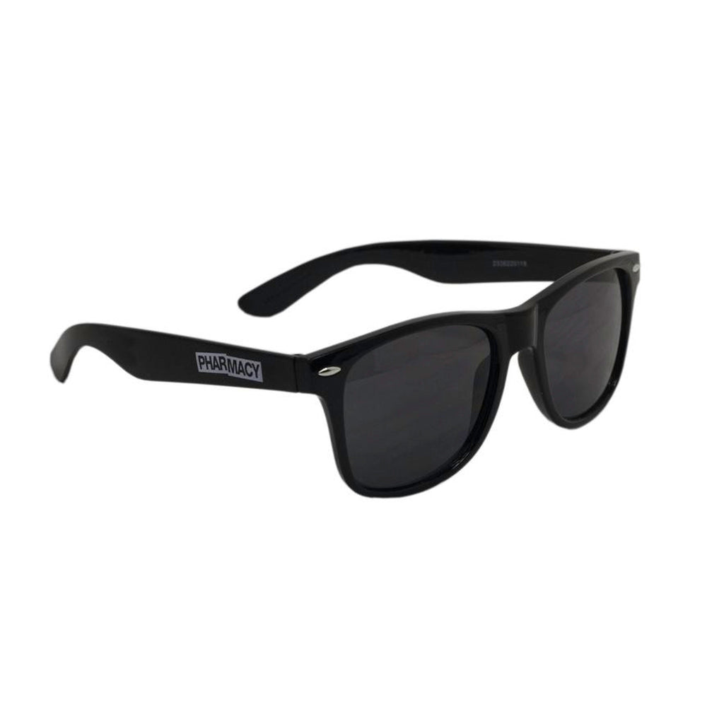 Black wayfarer sunglasses with Pharmacy logo on arm.