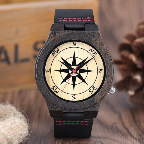 Sandalwood Compass Watch