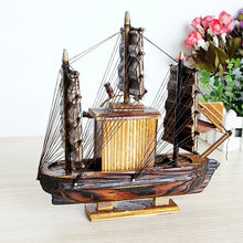 Load image into Gallery viewer, Creative Vintage Wood Sailboat Music Box Retro Swivel Mechanism Carousel Hand Craft Antique For Birthday Gift Home Decoration