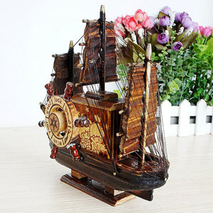 Creative Vintage Wood Sailboat Music Box Retro Swivel Mechanism Carousel Hand Craft Antique For Birthday Gift Home Decoration