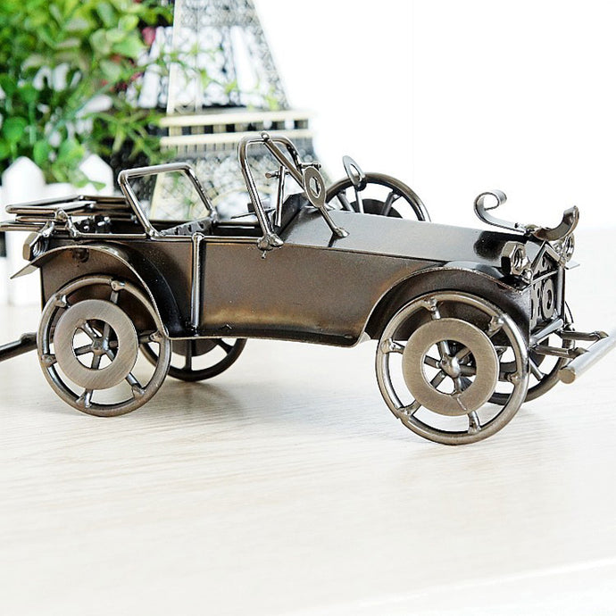 Retro Classic Car Old Fashioned Model Vintage Metal Craft Home Decor Boy Birthday Gift Antique Figurines & Miniatures 20*9*11cm