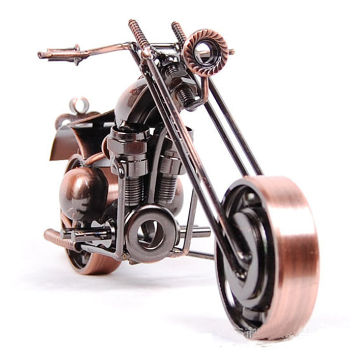 1pc 21cm Original Antique Motorcycle Model Vintage Brass Black Bronze Color Screw Gear Craft Home Decor Boy Father's Gift
