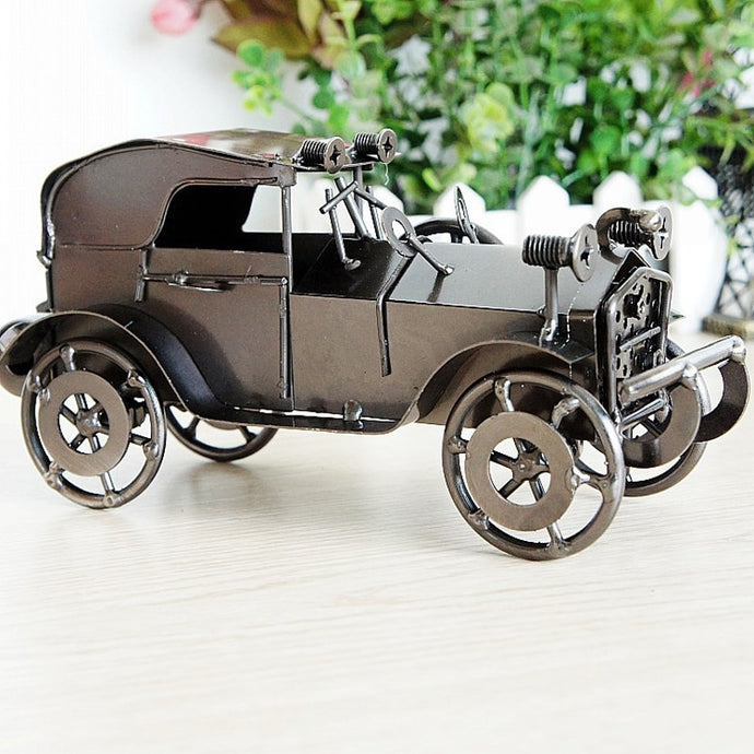 Old Fashioned Classic Car Retro Car Model Metal Craft For Home Decoration Boy Birthday Gift Figurines Miniatures 20*9*11cm