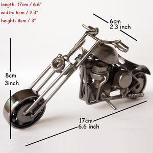 1pc 17cm Metal Craft Vintage Motor Van Home Decor Shabby Chic Motorcycle Hand-made Harley Motor Statue Model Traffic Collection
