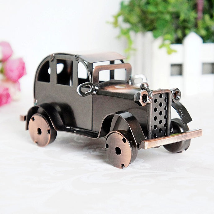 Antique Truck Classic Car Model Vintage Metal Craft Home Decor Boy Birthday Gift Antique Rustic Figurines & Miniatures 13*7*7cm