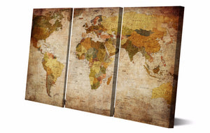 HD Printed 3 Pieces World Map