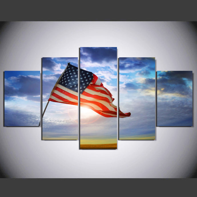 HD Printed 5 Pieces American Flag Flying