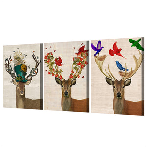 HD Printed 3 Pieces Deer Elk Color Birds