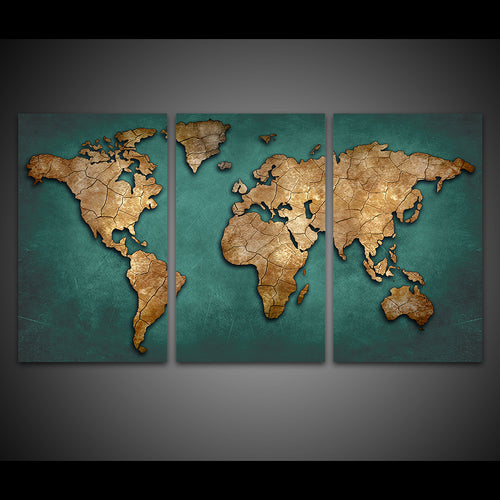 HD Printed 3 Piece World Map