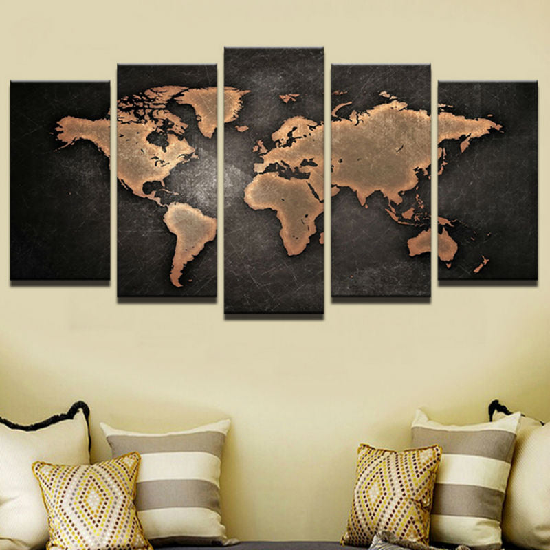 HD Printed 5 Pieces Retro World Map