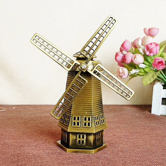 World Famous Statue Figurines Miniature Classical Netherlandish Windmill Home Decoration Furniture 18cm Bronze Color