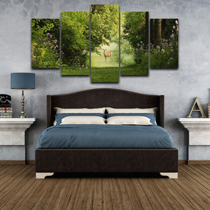 HD Printed 5 Pieces Deer in Forest