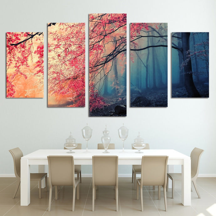 HD Printed 5 Pieces Red Trees Forest Landscape
