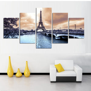 HD Printed 5 Panel Eiffel Tower European Cities