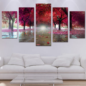 HD Printed 5 Pieces Red Trees