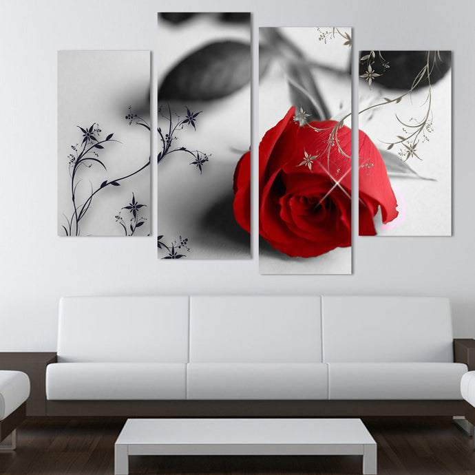 HD Printed 4 Pieces The Red Rose Flowers (Unframed)