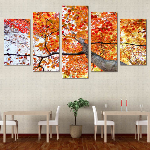 HD Printed 5 Pieces Maple Tree Red Yellow Leaves