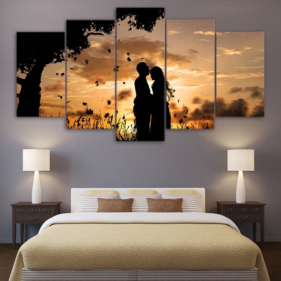HD Printed 5 Pieces Couple &  Sunset