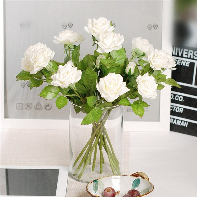 20 pcs Moisturizing Rose Artifical Flower Silk Flowers Floral Latex Real Touch Wedding Bouquet Home Party  Furnishing Decoration
