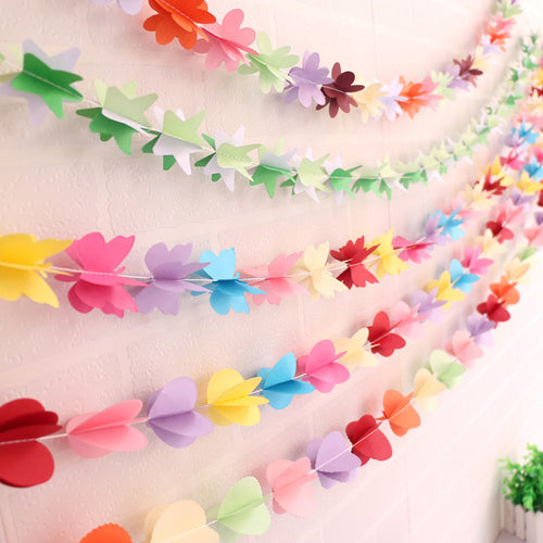 20pc/lot 3D Garland Happy Birthday Decor Banner Butterfly Heart Flower Bunting For Nursery Photobooth Props Photocall Decoration