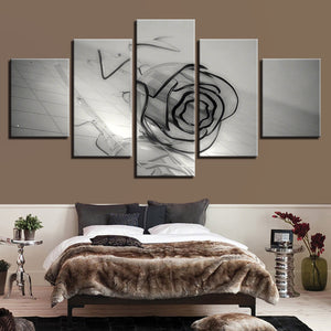HD Printed 5 Pieces Black And White Glass Rose