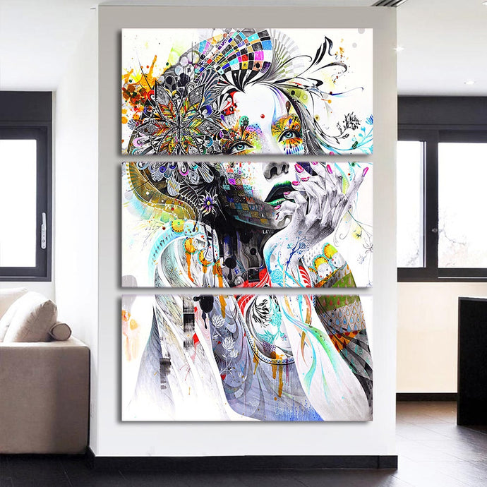 HD Printed 3 Pieces Watercolor Girl Face