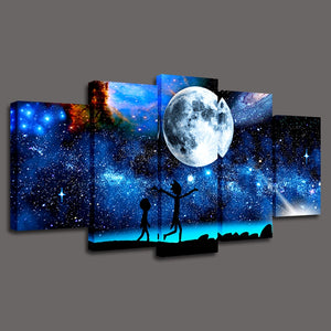 HD Printed 5 Pieces Starry Sky Moon