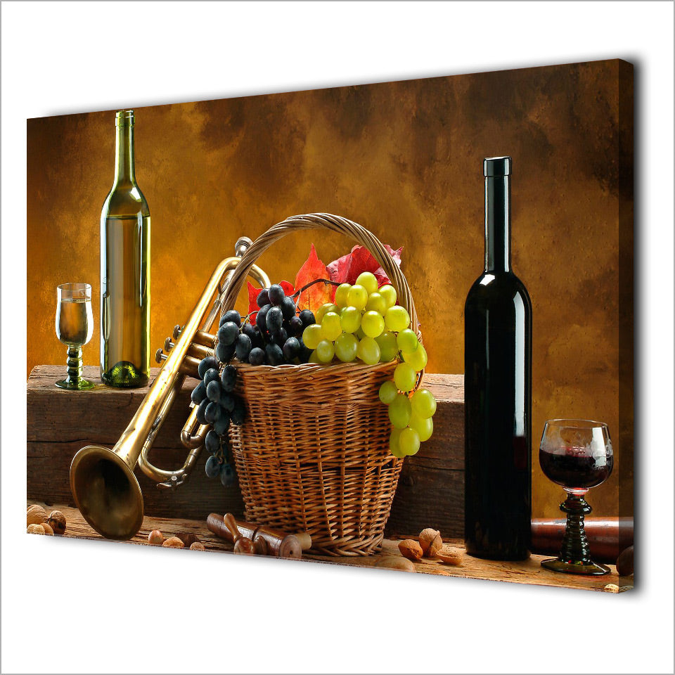HD Printed 1 Piece Art Grape Wine Fruit Vintage Painting