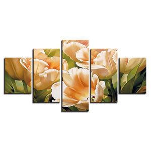 HD Printed 5 Pieces Graceful Champagne Tulips