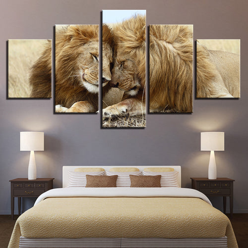 HD Printed 5 Pieces Lions Couple
