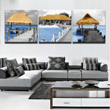 Load image into Gallery viewer, HD Printed 3 Piece Long Bridge Wooden Pavilion Seascape