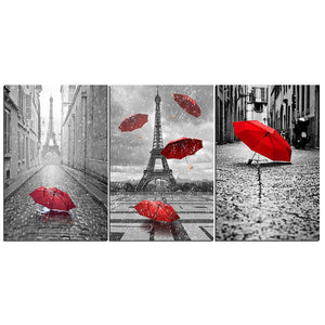 3 Pieces Black and White Eiffel Tower with Red Umbrella