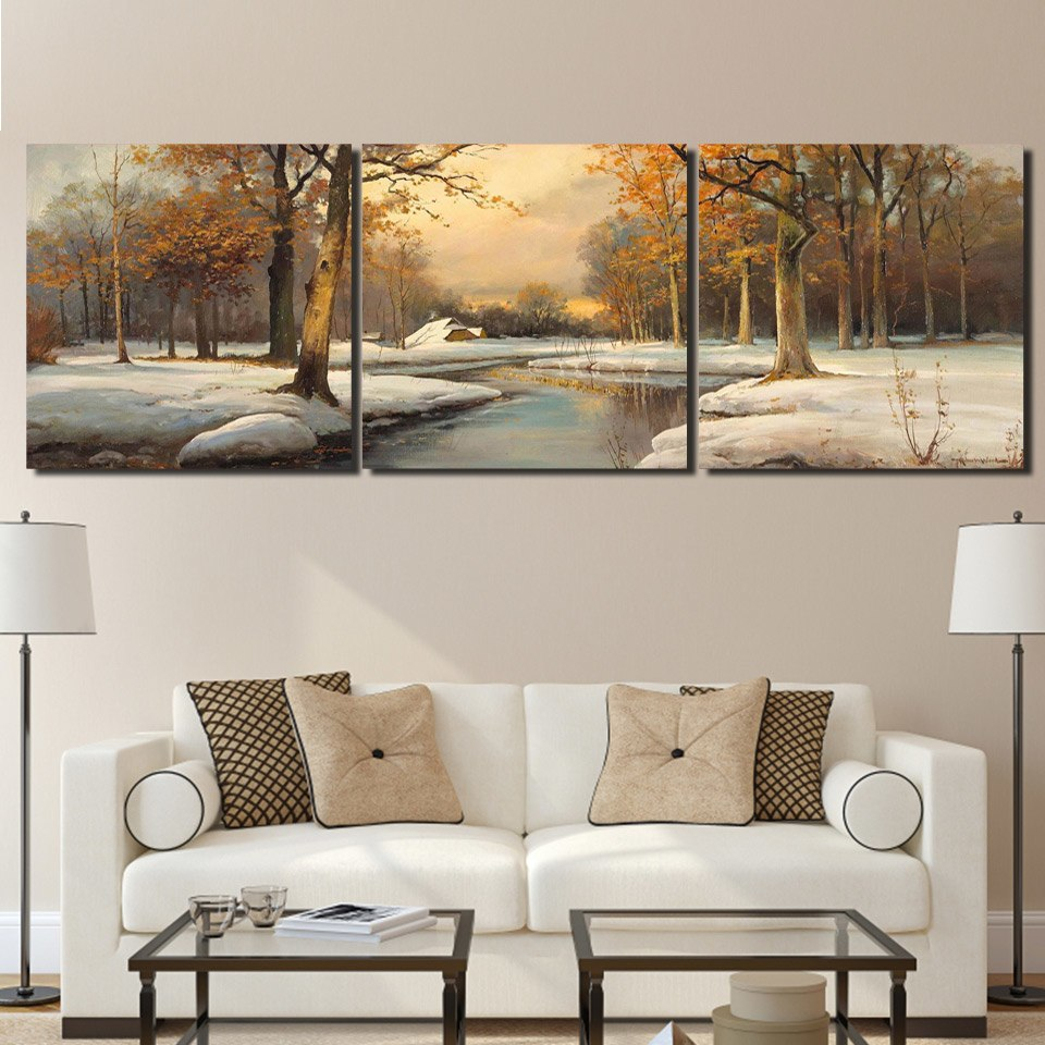 HD Printed 3 Pieces Winter Scenery & Creek