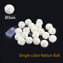 Load image into Gallery viewer, 2M Rattan Ball LED String Light Warm White Fairy Light Holiday Light For Party Wedding Decoration Christmas Lights Garland