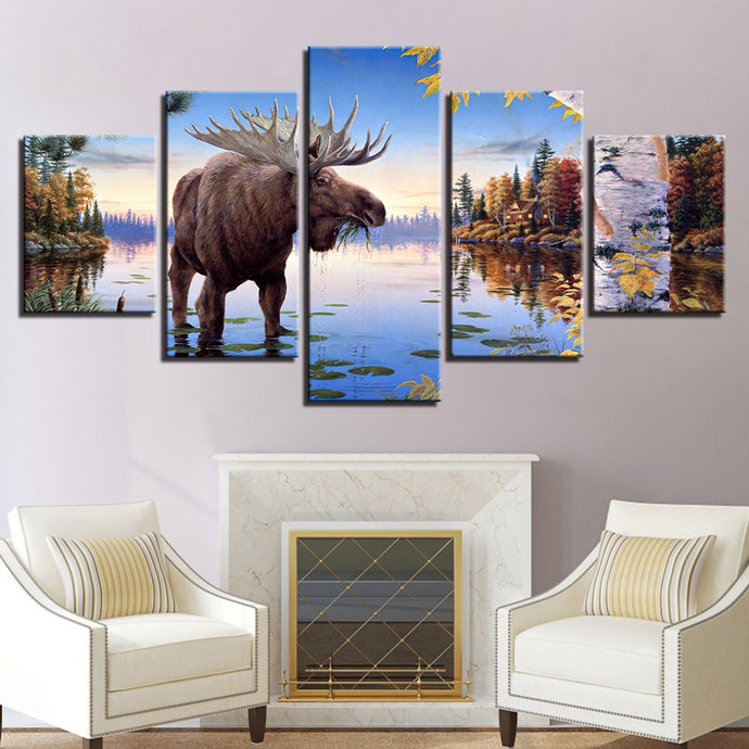 HD Printed 5 Pieces Elk Deer