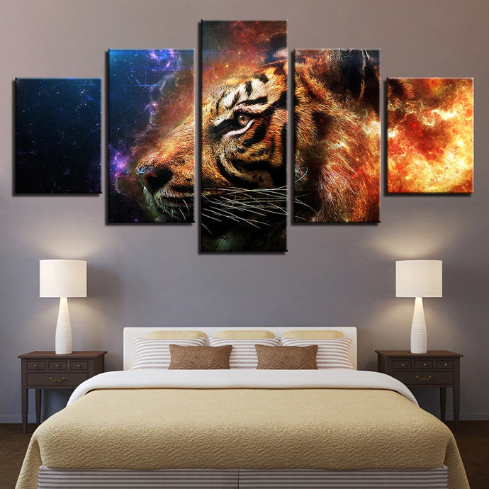 HD Printed 5 Pieces Fire And Ice Tiger
