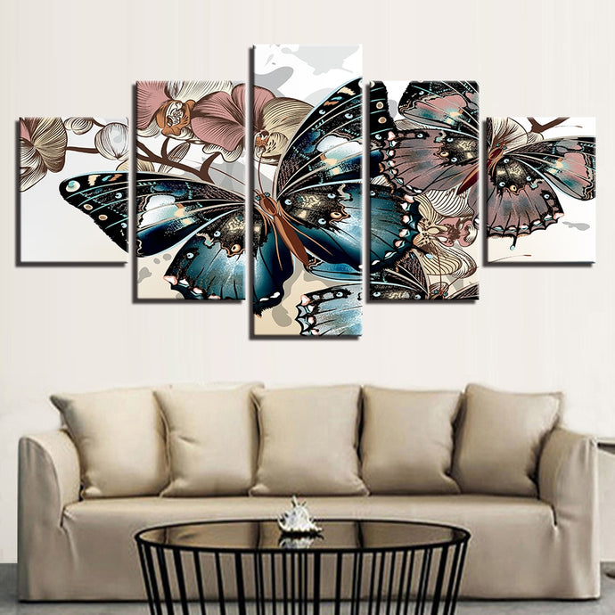 HD Printed 5 Pieces Floral Butterflies