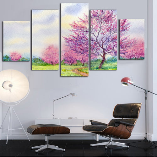 HD Printed 5 Pieces Pink Cherry Blossoms
