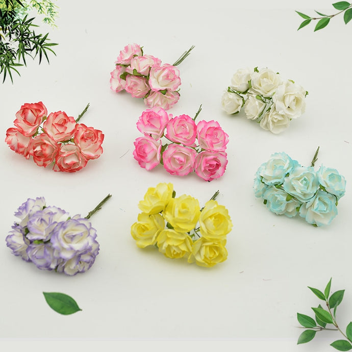 6pcs Cheap Paper Rose Artificial Flowers