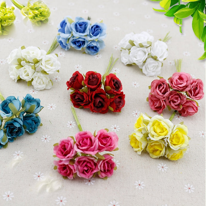 6 pcs Silk Rose flores Artificial Flowers
