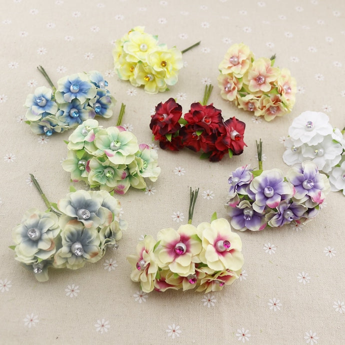 6pcs pearl silk cheap Artificial Flowers garland head wreaths