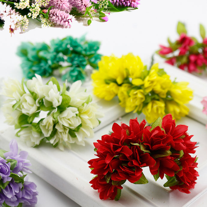 12 pcs/lot Silk Cherry Blossoms Small Artificial flowers Poppy Bouquet Wedding Decoration Mini Fake flowers
