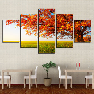HD Printed 5 Pieces Autumn Tree Leaves Park Lawn Scenery