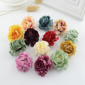 100pcs European retro Silk tea roses head wedding decor for home accessories Candy box gift diy Bride bouquet Artificial flowers
