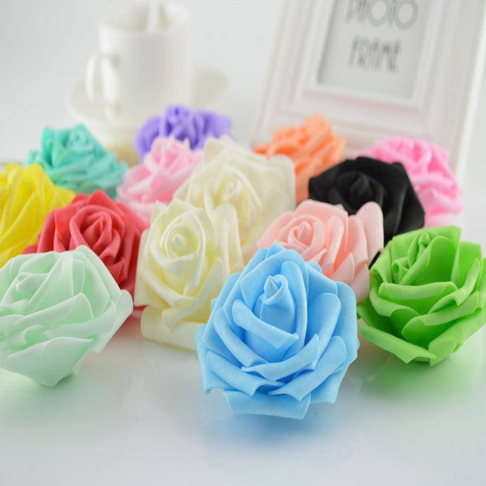 100pcs Artificial flowers newyear christmas for home wedding decoration accessories diy needlework gifts box 7CM silk Foam roses