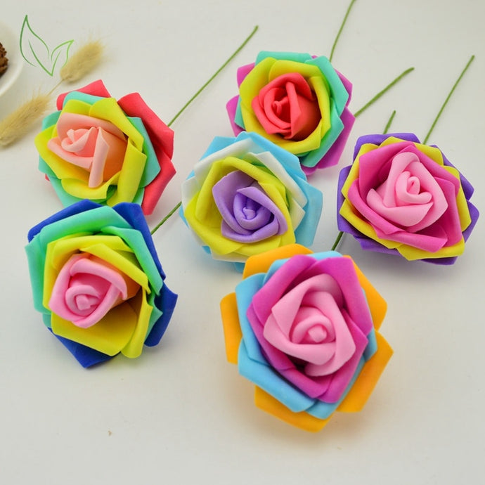 8 CM Pretty Charming quality Artificial Rose Flowers cheap Wedding Bridal Bouquet PE foam DIY for home decoration accessories