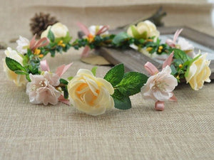artificial flowers festival Party decor Fashion Bohemian Style wreaths Bridesmaids Crown Wedding Garland Headband Beach Holiday