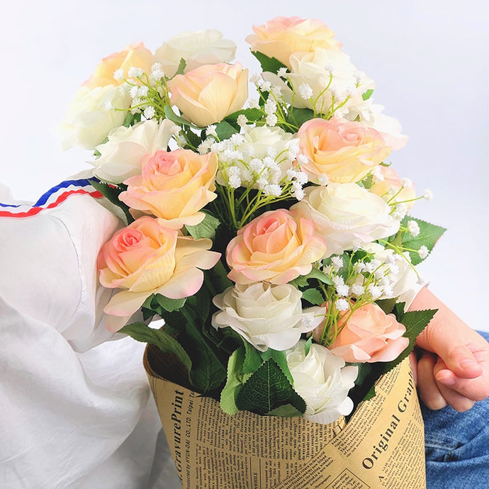 12PCS/lot Latex Real Touch Artificial Rose Flowers Wedding Bride Bouquet Babybreath Fake Flower For Wedding Home Party Decor